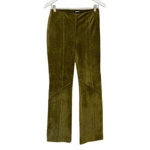 DKNY Olive Green Buttery Soft Suede Leather Pants
